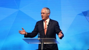 Prime Minister Malcolm Turnbull addresses the campaign launch in Sydney.