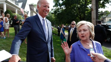 Biden on the presidential election campaign trail with Hillary Clinton in August last year