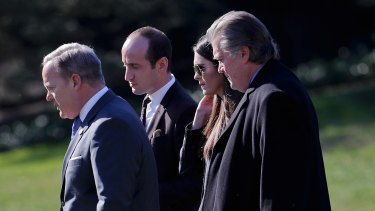 (From left) White House press secretary Sean Spicer, senior adviser Stephen Miller, adviser Hope Hicks and chief White House strategist Steve Bannon on Friday.