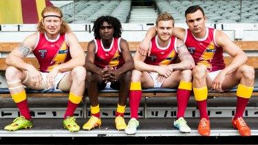 The recruits: From left, Ben Knight (Scottie), Gordan Churchill (Maki), Reece Milne (Doc, the president's son) and Nelson Baker (Zane).