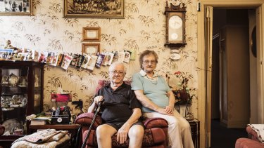 Gerald Donnelly, a former abbatoir worker, and wife Grace in the house in Homebush they have rented for 33 years.
