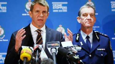 Series of questionis: NSW Premier Mike Baird (left) and NSW Police Commissioner Andrew Scipione.