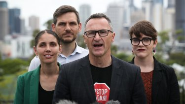 L-R: Greens candidate for McConnel, Kirsten Lovejoy, candidate for Maiwar, Michael Berkman, Greens Leader Richard Di Natale and candidate for South Brisbane, Amy MacMahon.