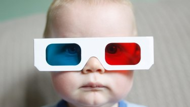 3D glasses: by the time she grows up, she won't need them.