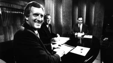 John Hewson and Paul Keating relax before a televised debate in 1993.
