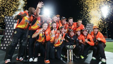 To the victors go the spoils: The Perth Scorchers celebrate their second straight Big Bash title in Canberra last season.