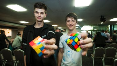 Jayden McNeill and Feliks Zemdegs Rubicks at the Canberra Speed Cubing event.