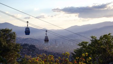 Gondolas connect the Santo Domingo neighborhood and Parque Arvi in Medellin, creating a more inclusive culture.