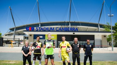 (l-r) Canberra United Head Coach Rae Dower, Wellington Phoenix Captain Vince Lia, Canberra United Captain Michelle Heyman, Central Coast Mariners Captain Nick Montgomery, Wellington Phoenix Head Coach Ernie Merrick and Mariners Captain Head Coach Paul Okon . Photo Jay Cronan