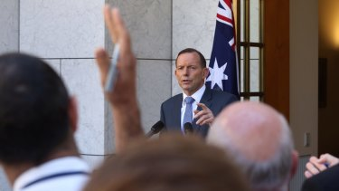 Prime Minister Tony Abbott takes questions during a press conference in Canberra on Monday.