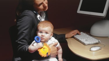 Stay-at-home fathers spend slightly less time on childcare than their working wives.