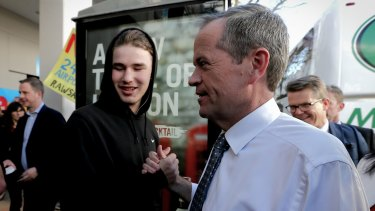 Opposition Leader Bill Shorten greets shoppers during a street walk at Westfield Penrith in western Sydney on Friday.