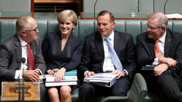 Malcolm Turnbull, Julie Bishop, Tony Abbott and Scott Morrison during happier times.