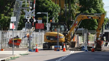 Changes evident: Work begins on the Newcastle rail line at Wickham.
