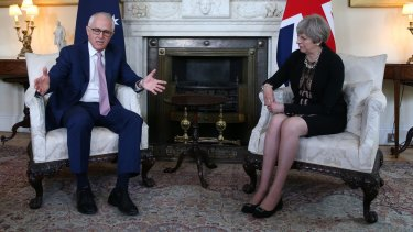 Australian Prime Minister Malcolm Turnbull and UK Prime Minister Theresa May at 10 Downing Street, London.