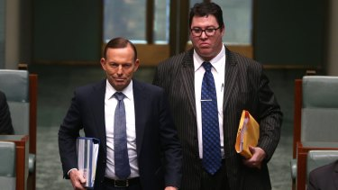 """Nationals MP George Christensen (right) says a petition calling on Prime Minister Tony Abbott to block him from attending a Reclaim Australia rally is """"intimidation""""."""