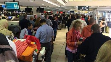 Mayhem at Sydney Airport on Monday morning.