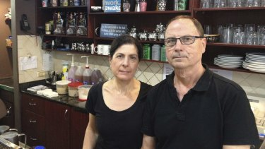 Deanne and Spiro Coucouvinis at the cafe in the city they have run since 2003. It will be demolished to make way for the Metro.
