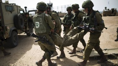 Israeli soldiers during a military exercise in the region bordering the Gaza Strip on Sunday.