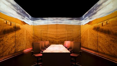 A wheat field is projected onto the walls of Paul Pairet's Ultraviolet restaurant.