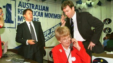 Mr Turnbull with Eddie McGuire and Hazel Hawke at the  Republican Movement headquarters in South Melbourne.