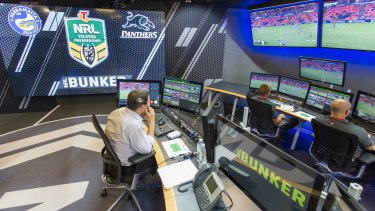 Bunkering down: The NRL video refs in their new set-up.
