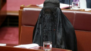 Senator Pauline Hanson earned the ire of colleagues for wearing the burqa during Senate question time.