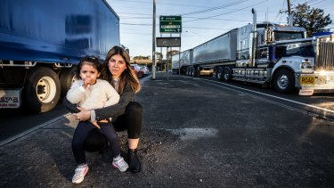 Brooklyn resident Gulen Sarantis, with her two-year-old Georgia, has concerns over the 7000 extra trucks that will hit Millers Road.