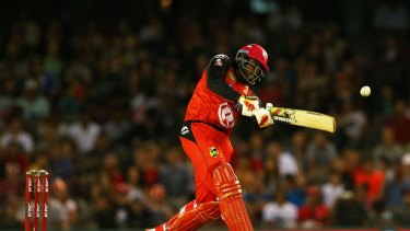 Chris Gayle in action during this year's Big Bash League.