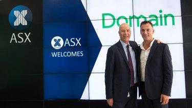 Domain chief executive Antony Catalano with Fairfax Media chief executive Greg Hywood at the ASX on Thursday.