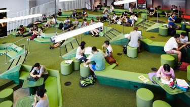 "Lyons designed ""the Lawn"" student portal at RMIT to resemble a garden forecourt."