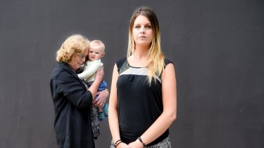 Crystal Moon has experience of the child protection system. Pictured with son Luke and grandmother Helen Aldersey.