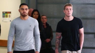 Scary times: Dylan Walker and then Rabbitohs teammates Aaron Gray leave hospital in the wake of the overdose in September.
