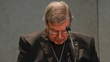 Cardinal Pell addresses the media at the Vatican.