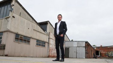Tim Gurner inside the former industrial  Fitzroy North site.
