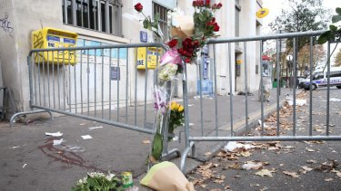 The scene outside the Bataclan theatre the morning after the attack.