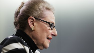 Expenses: Bronwyn Bishop at Saturday's press conference.