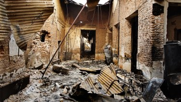 The remains of a laboratory corridor following the October bombing.