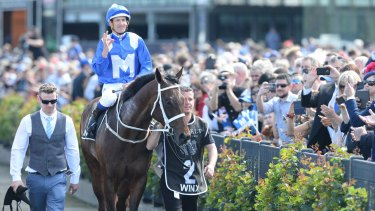 A special milestone: Jockey Hugh Bowman returns to scale on Winx.