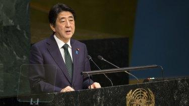 Japanese Prime Minister Shinzo Abe addresses the 2015 Sustainable Development Summit on Sunday at United Nations headquarters.