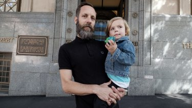 Piers Greville with son Lucien Greville-Mac.
