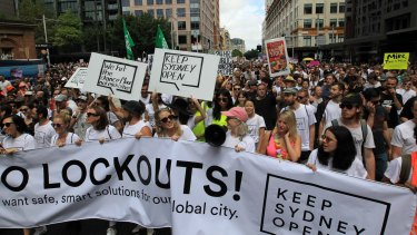 "Thousands of protesters gathered at the ""Keep Sydney Open"" rally to protest against the recently renewed lockout laws."