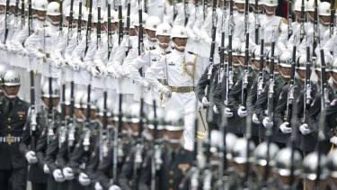 Honours guards performing at the 14th presidential inaugural celebration in Taipei, Taiwan, on Friday.