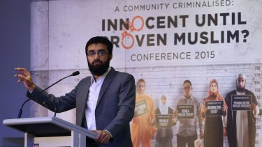 Hizb ut-Tahrir spokesman Uthman Badar delivers a speech in Sydney.