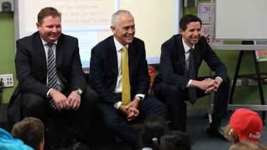 Assistant Minister for Industry Craig Laundy, Prime Minister Malcolm Turnbull and Education Minister Simon Birmingham visit North Strathfield Public School earlier this month.