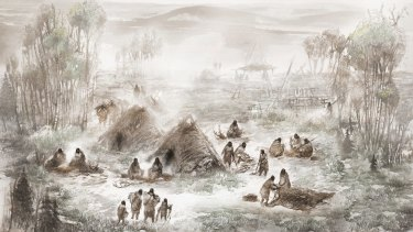 An illustration of ancient Native Americans in what is today called the Upward Sun River site in central Alaska.