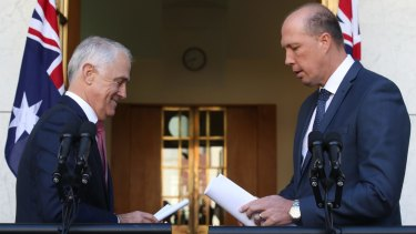 Prime Minister Malcolm Turnbull and Immigration Minister Peter Dutton on Thursday.