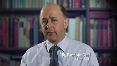 """David van Gend, the president of the Australian Marriage Forum, is described on-screen as a """"family doctor""""."""