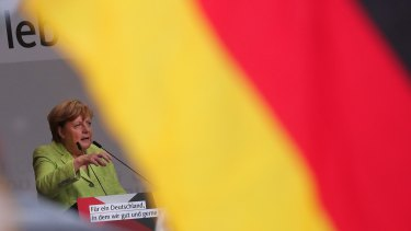 Angela Merkel, Germany's chancellor and Christian Democratic Union leader, speaks during an election campaign rally in Torgau, Germany.