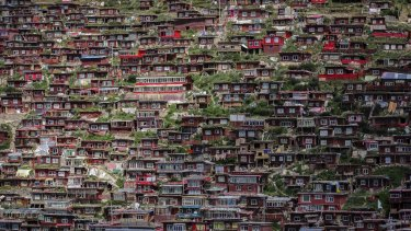 With restricted area in which to build, the density of dwellings at Larung has to be seen to be believed.